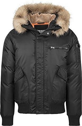 Urban Classics Herren Jacke Hooded Heavy Fake Fur Bomber Jacket Schwarz (Black 7), X-Large