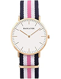 Alienwork Classic St.Mawes Reloj cuarzo elegante cuarzo moda diseño atemporal clásico Nylon oro rosa azul U04818L-02