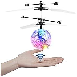 JAMSWALL RC Jouet drone, RC Ball, mini-boule hélicoptère télécommandé automatique infrarouge, éclairage LED multicolore pour les enfants et adolescents (Sans Télécommande)
