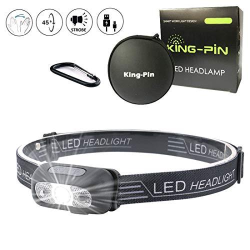 LED Stirnlampe Kopflampe USB Wiederaufladbare Wasserdicht Leichtgewichts Mini Stirnlampe 7 Leuchtmodi Perfekt fürs Laufen Jogging Campen Radfahren (Sensor LED Stirnlampe Schwarz)