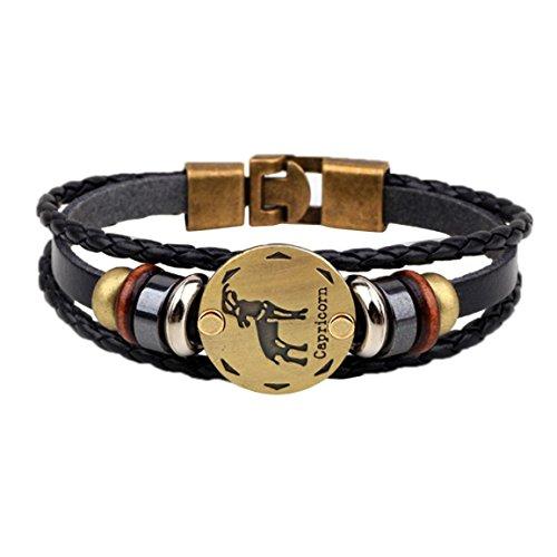 Preisvergleich Produktbild Moonuy Frauen Armbänder 12 Konstellationen Armband Modeschmuck Männer Lederarmband Persönlichkeit Armband schöne Tier Zubehör Für Frauen (E)
