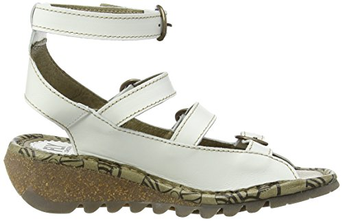 FLY London TYSE607FLY, Sandales Compensées femme Blanc Cassé - Off White (OFFWHITE)
