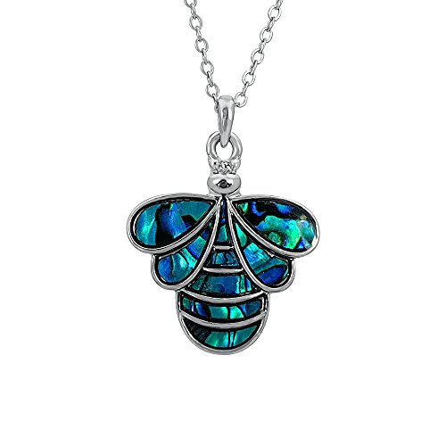 Kiara Schmuck Bee Anhänger Halskette mit natürlichen grünlichen blau intarsiert Paua Abalone Shell auf 45,7 cm Trace Kette. Nicht trüben Silber Farbe, Rhodiniert. (Bee-schmuck-box)