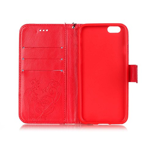 JAWSEU Coque Étui pour iPhone 7 en Cuir Portefeuille,iPhone 7 Etui Folio Pu,iPhone 7 Étui à Rabat Magnétique Housse Etui,2017 Neuf Bling Brillante Laser Désign Flip Pu Wallet Case Ultra Slim Leather F Rouge/strass