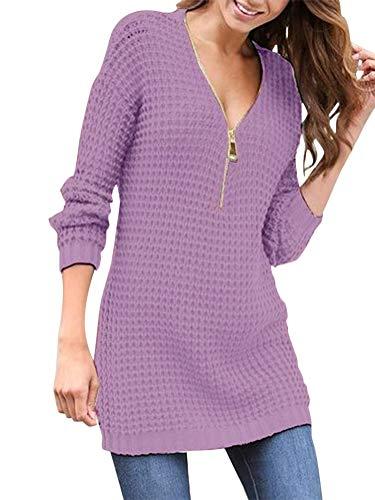 ORANDESIGNE Femme Elégant Robe Pull Tricoté Col V Manche Longue Loose Solide Sweater Tunique Oversize Tricot Chemisier Mode Automne Hiver Tops Violet FR 44