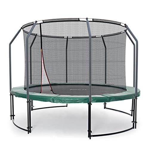 (Ampel 24 Deluxe Outdoor Trampolin 366 cm grün komplett mit innenliegendem Netz, Belastbarkeit 160 kg, Sicherheitsnetz mit 8 gepolsterten Stangen)