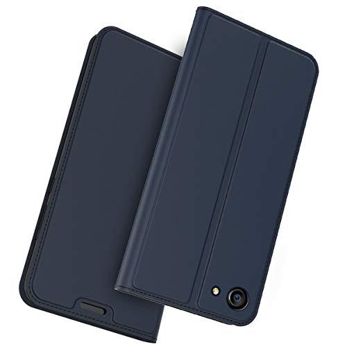 FugouSell Oppo A83 Leder Hülle, Premium PU Leder etui Schutzhülle Tasche mit Kippständer, Slim Flip Case Cover für Oppo A83(Blau)