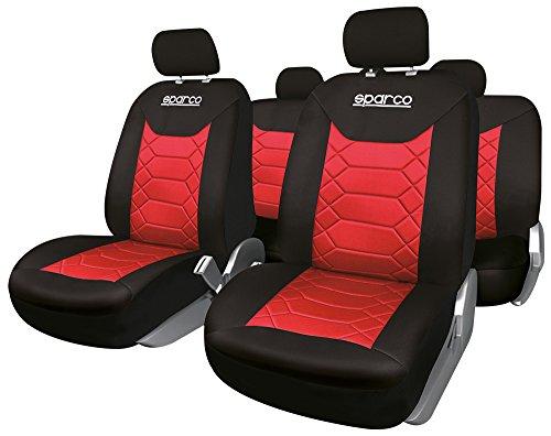 SPARCO SPC1016RS Set Coprisedili Universali in Polyestere, Neroo/Rosso