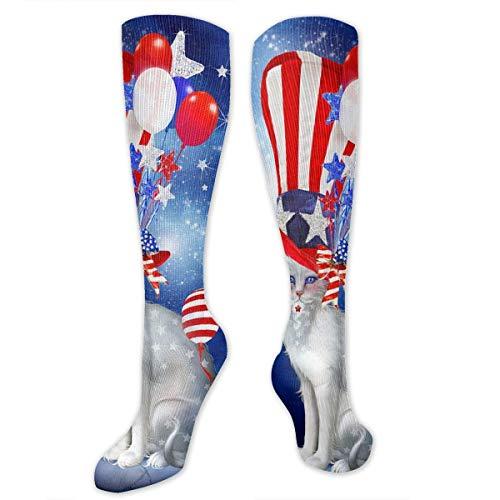 NFHRREEUR Knee High Socks American Flag Shy Cat Compression Socks Sports Athletic Socks Tube Stockings Long Socks Funny Personalized Gift Socks for Men Women Teens Boys Girls