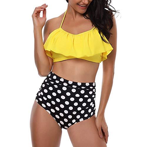 Beikoard Sexy Bikini Damen High Waist Bademode Neckholder Bikini mit Polka Dots Badeanzug Damen Bikini Set Strand Bikini Set Zwei Stück Tankini Set Bademode mit Shorts -