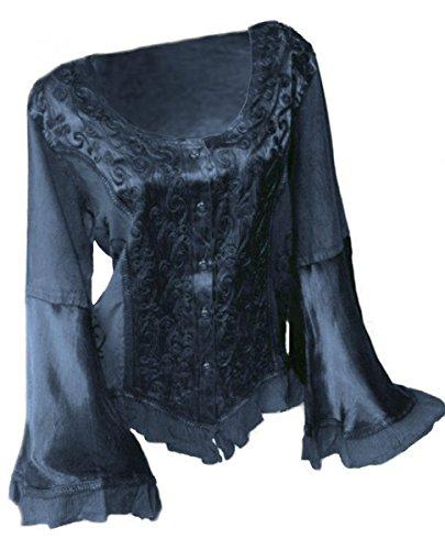 Dark Dreams Gothic Mittelalter LARP Top Bluse Artemis 38 40 42, Farbe:blau