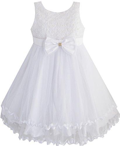 (Sunboree Mädchen Kleid Weiß Perle Tüll Schichten Hochzeit Blume Mädchen Gr.128-134)