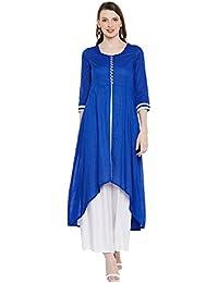 Natty India Blue & White Cotton & Crepe Women's Kurti Plazzo (CB11262B-XS)