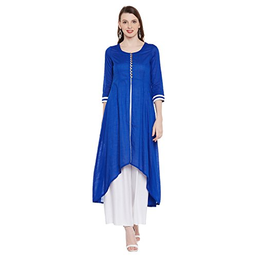 Natty India Blue & White Cotton & Crepe Women's Kurti Plazzo (CB11262B-XS)