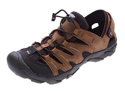 Herren Outdoor Sandalen Gummizug Leder Halb Schuhe Sandaletten Klettverschluss Braun Gr. 40 - 46 Braun-Schwarz
