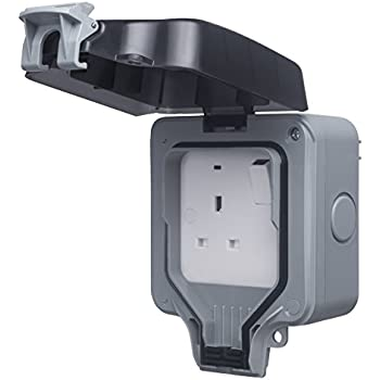 1x Weather Proof IP66 Outdoor RCD 13A 2 Gang Switched 3 Pin UK Plug Mains Socket
