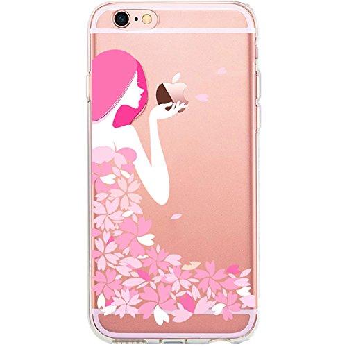 GIRLSCASES® | iPhone 6-6S Hülle | Im Fee Motiv Muster | in schwarz | Fashion Case transparente Schutzhülle aus Silikon Blumenmädchen