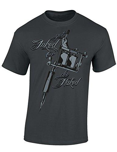 Baddery Get Inked or Die Naked- Tattoo T-Shirt Als Geschenk für Alle mit Tätowierungen - Geschenkidee, Mausgrau, M (Tätowierung-design-bücher)