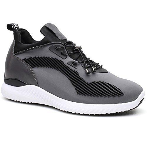 CHAMARIPA-Aufzugs-Turnschuhe Sport-beiläufige leichte Schuhe mit versteckter anhebender Ferse für Mann Schwarzes Blau Grau -7cm Taller-H71C62V012D Grau