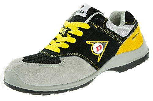 Dunlop Flying Arrow Sicherheitsschuh S3 | Arbeitsschuh S3 mit Zehenkappe | Sportlich & Atmungsaktiv, Schwarz-Grau-Gelb, Größe 38 + ACE Schuhbeutel