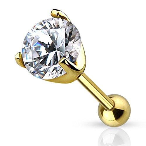 Piercingfaktor Piercing Ohr aus Chirurgenstahl Helix Tragus Ohrpiercing Cartilage Barbell Stecker mit Kristall Gold IP 5mm