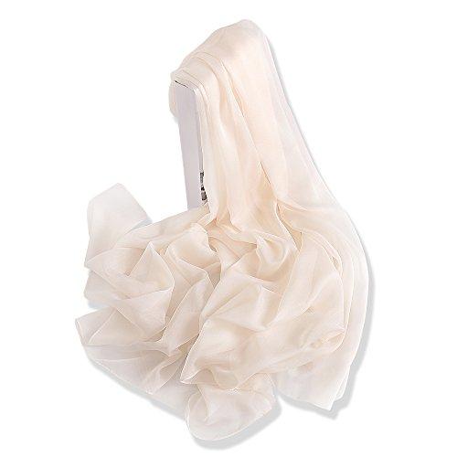 Yfzyt lady donna elegante scialle sciarpa morbida collo wrap, elegante colore puro primavera estate sciarpa shawl chiffon delle sciarpe di seta - bianco crema