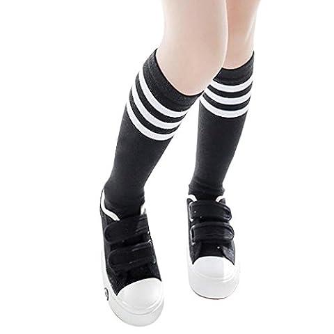 Jungen (2-4 Jahre) Sportsocken Transer® Knie-Lange Baumwolle Draussen Fußball Basketball Baseball-Socken Strümpfe Größe: 43cm (Gestreifte Verbandsmull)