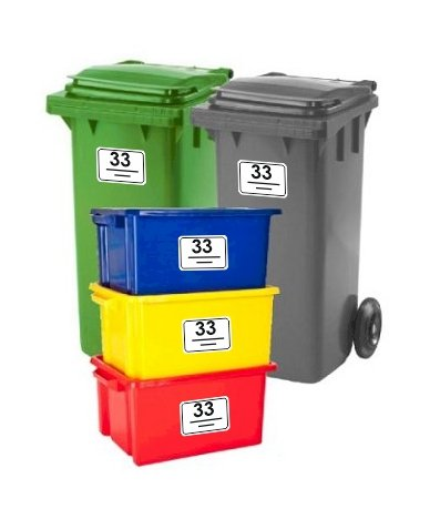 *Bin Stickers SET OF 5 Rounded Corners House Number Street Name Waterproof Printed Wheelie Bin Vinyl Box Crate Number Stickers and Letter A6*