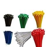 600 Stück Set Kabelbinder farbig bunt je 100 Stück Schwarz Grün Natur Rot Gelb Blau 3,6 x 140 mm