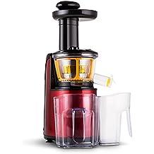 Klarstein Fruitpresso Rossa II Licuadora vertical Slow (150W potencia, 80 rev/min, 2 jarras 800ml, separador pulpa, incluye pilon, cepillo limpieza, filtro, 2 receptaculos, acero inox rojo metalico)