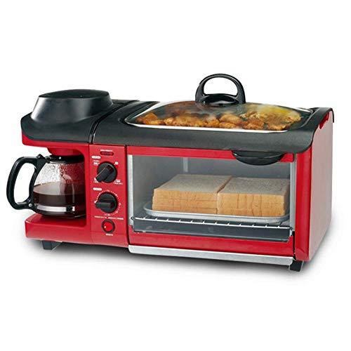 DXDCV 3-in-1-Multifunktions-Frühstücks-Hub (Toaster, Teppanyaki, Kaffeemaschine mit Mehreren Tassen) (Toaster Mit Kaffeemaschine Ofen)