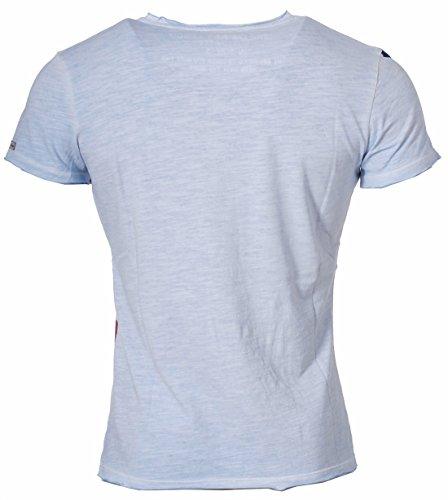 Key Largo Herren T-Shirt Dreamer slim fit tailliert tiefer V-Ausschnitt vintage used destroyed Look USA Amerika Fahne Adler Druck Printshirt T00718 Hellblau