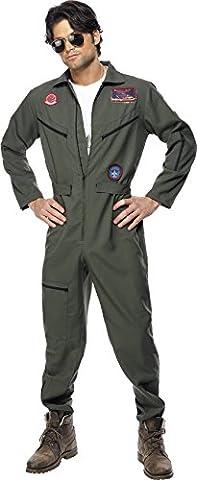 Smiffys - Déguisement Homme Pilote d'avion Top Gun : Combinaison, chaîne, plaque d'identité militaire, Lunettes de soleil - Taille XL, Couleur : Vert