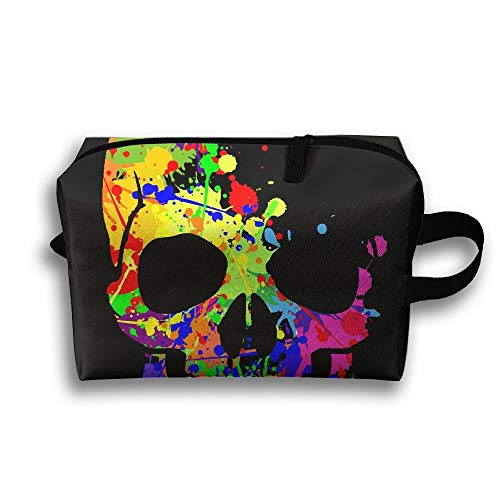 Colorful Skull Travel Bag Toiletries Bag Phone Coin Purse Cosmetic Pouch Pencil Case Tote Multifunction Organizer Storage Bag