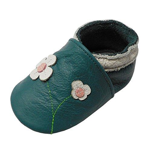 YALION Baby Mädchen Weiches Leder Lederpuschen Kleinkinder Krabbelschuhe mit Süßen Blumen Grün,18-24 Monate