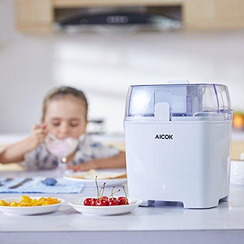 Eismaschine 1,5 L, Aicok 3 in 1 Eiscrememaschine, Joghurt und Sorbet Frieren Maschine, Speiseeismaschine mit Timer, Weiß -