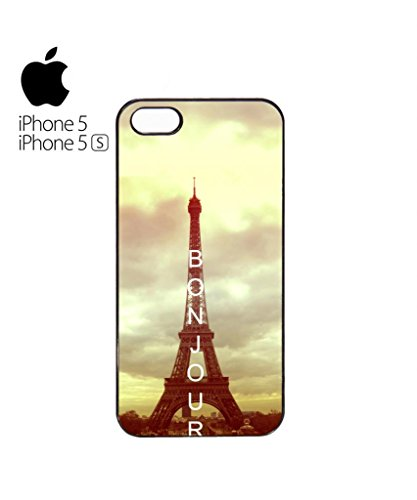 Bonjour Paris Eiffel Tower Mobile Cell Phone Case Cover iPhone 5c Black Blanc