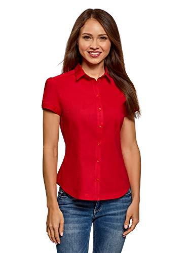 oodji Ultra Mujer Camisa de Algodón de Manga Corta, Rojo, ES 34 / XXS