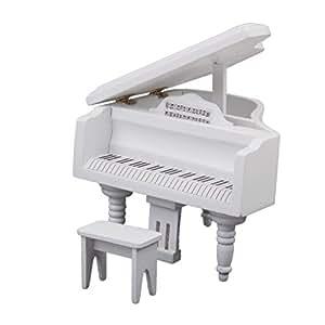 Piano avec Tabouret en Bois Miniature pour 1/12 Maison de Poupée - Blanc