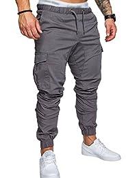 SOMTHRON Homme Ceinture élastique à long coton Jogging pantalons de survêtement Plus la taille Mode Sport Cargo Pantalons Shorts avec poches Joggers Activewear Pantalons