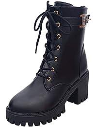 Sonnena - Las mujeres atan para arriba el bikiní plano Biker Militar Army Combat Black Boots Shoes Zapatos de plataforma