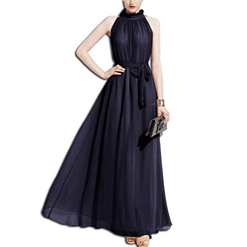 KAXIDY Damen Chiffon High Neck ärmelloses langes Kleid Elegante Cocktail Party Kleider Maxi Abendkleid Strandkleid (Dunkel-blau)