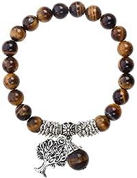 JOVIVI 8mm-Bracelet en Pierre Oeil de Tigre Chakra Perles d'Energie Pierre Précieuse Extensible Elastique Tibétain Bouddhiste avec Pendentif Arbre de la Vie