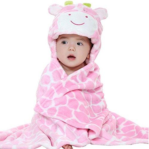 DINGANG Baby Kleinkinder Kids Badetuch mit Kapuze Duschtuch Badeponcho Sternbild Motiv (Giraffe)