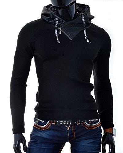 D&R Fashion Männer T-Shirt Sweatshirt-Leder-Patches mit Kapuze Grau Schwarz Schwarz