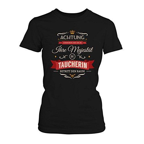 Fashionalarm Damen T-Shirt - Ihre Majestät die Taucherin betritt den Raum   Fun Shirt mit Spruch als Geschenk Idee für Hobby Freizeit Wassersport Schwarz