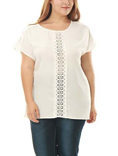 sourcingmap® Femmes Grande Taille dentelle crochetée bord haut tunique mousseline white