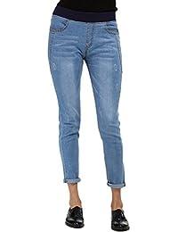 Lanbaosi Pantalons Femme Denim Jeans Taille élastique Slim Leggings Collant Crayon Casual Pants
