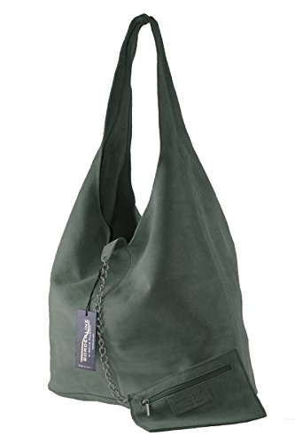 BORDERLINE - 100% Made in Italy - Borsa Sacca da Donna Sfoderata in Vero Camoscio - SARA Verde Petrolio