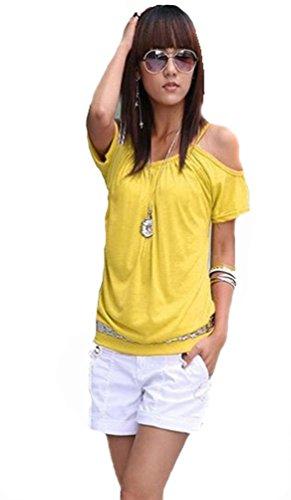 f301fcaf4d64a1 Mississhop Japan Style Damen Top T - Shirt Bluse Longshirt Tunika Tanktop  Oberteil NATA gelb XL